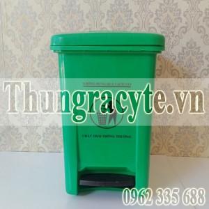 Thùng rác y tế 20 lít đạp chân màu xanh