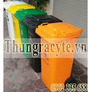 Thùng rác 120 lít có 2 bánh xe cao su