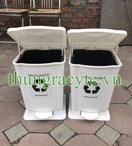 Thùng rác y tế 15 lít đạp chân màu trắng