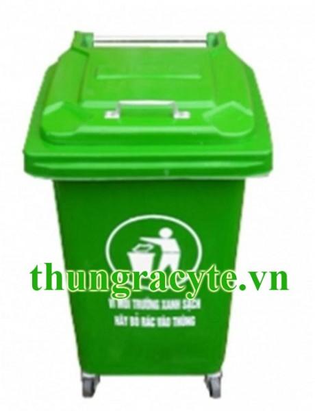 Thùng rác công nghiệp 60 lít có 4 bánh xe