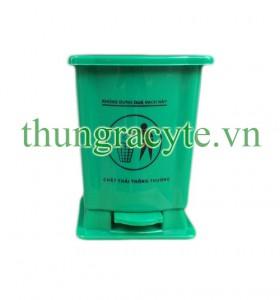 Thùng rác y tế 15 lít đạp chân màu xanh