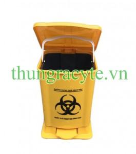 Thùng rác y tế 15 lít đạp chân màu vàng