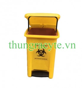 Thùng rác y tế 20 lít đạp chân màu vàng