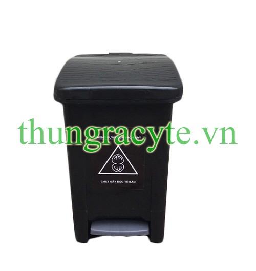 Thùng rác y tế 20 lít đạp chân màu đen